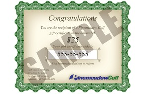 Pinemeadow Golf Gift Certificates